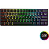 GK61 Hot Swappable Mechanical Keyboard - 61 Keys Multi Color RGB Illuminated LED Backlit Wired Gaming Keyboard, Waterproof Programmable, for PC/Mac Gamer, Typist (Gateron Optical Red)