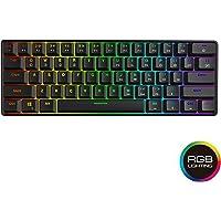 GK61 Mechanical Gaming Keyboard - 61 Keys Multi Color RGB Illuminated LED Backlit Wired Gaming Keyboard, Waterproof Programmable, for PC/Mac Gamer, Typist Gateron Optical Black Black GK61