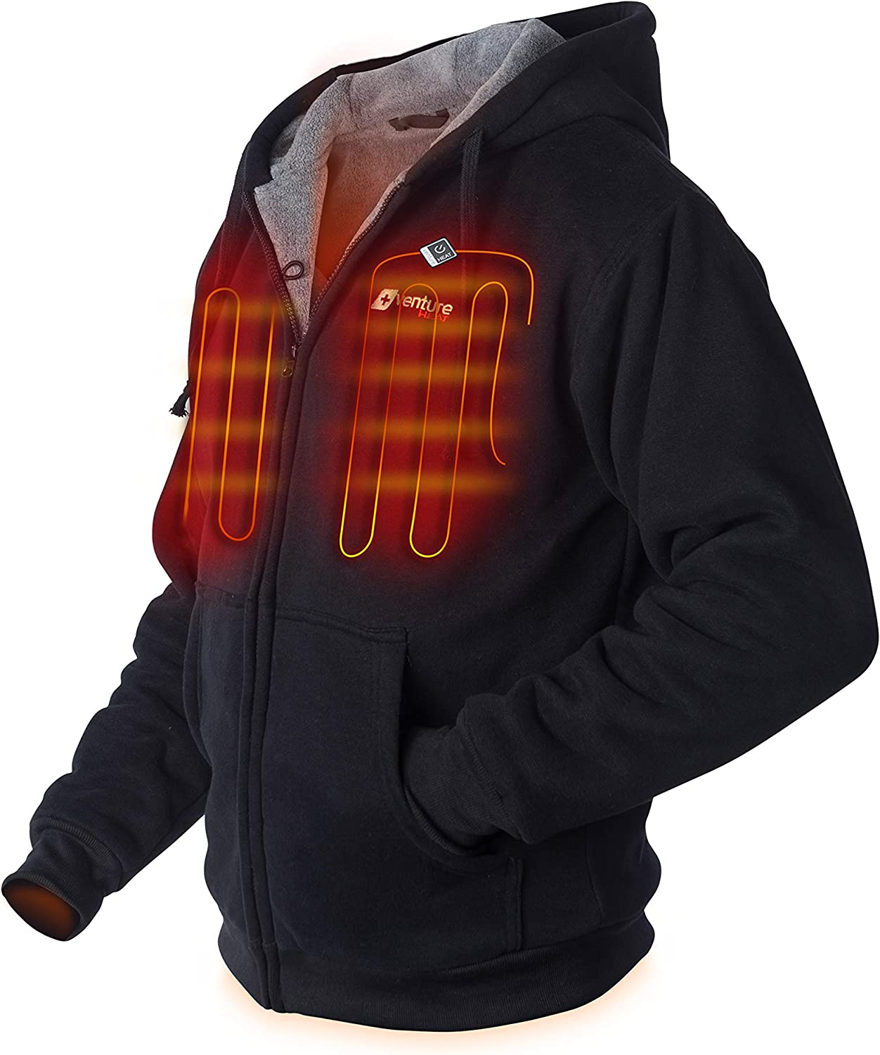 Venture Heat Heated Hoodie with Battery - Electric Sweater Jacket Men Women, Transit 2.0 (Fleece or Canvas) at  Men's Clothing store