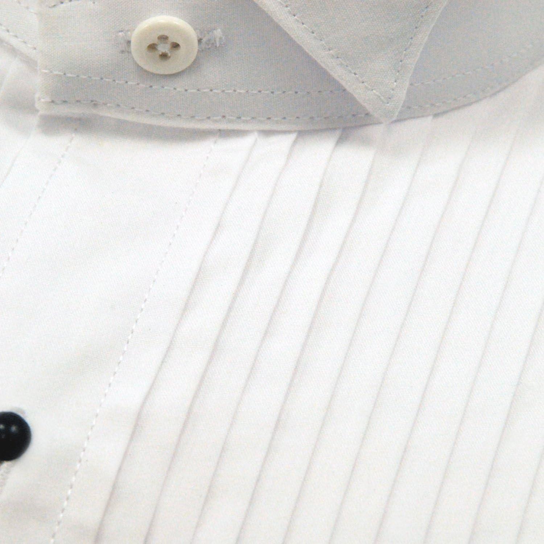 Tuxedo Shirt White Wing Collar 1//4 Pleat