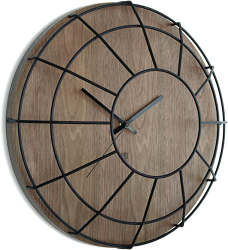 Umbra Cage Wall Clock, Walnut Black