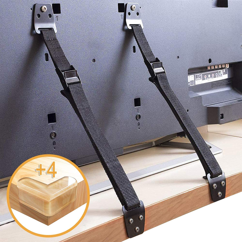 S/écurit/é anti-basculement Protection anti-basculement R/églable SYOSIN Lot de 2 sangles de s/écurit/é pour TV et meubles Pour b/éb/és et enfants Pour t/él/éviseurs /à Pour meuble TV