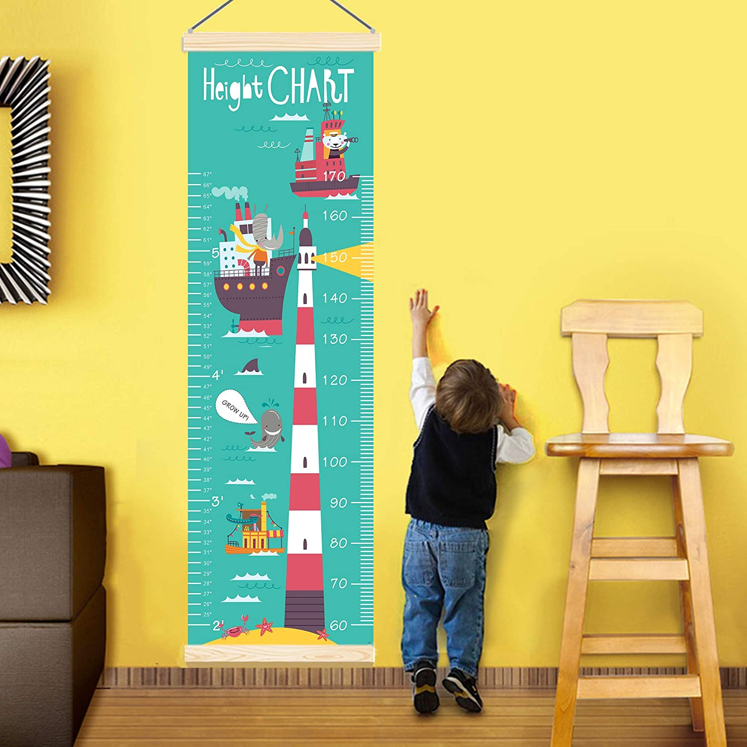 JYCRA Baby Growth Chart Canvas Wall Hanging Measuring Rulers Nursery Removable Height and Growth Chart for Kids Boys Girls Room Decor