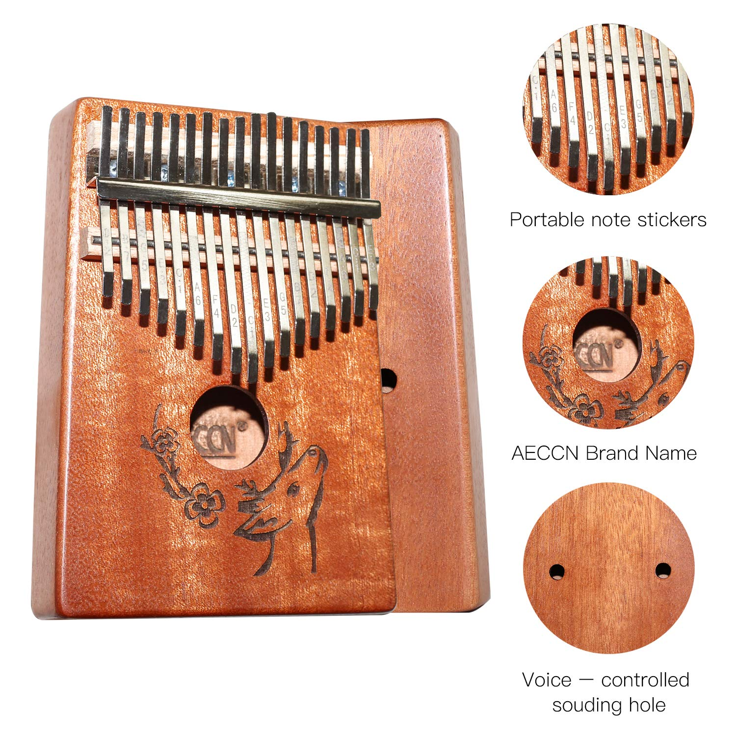 AECCN Kalimba 17 Keys Thumb Piano - Pocket Size With Study Instruction and Tune-Hammer & Simple Sheet Music, Christmas Day Birthday Gifts Idea for Kids Adults Beginners, Professionals (Deer) by AECCN (Image #3)