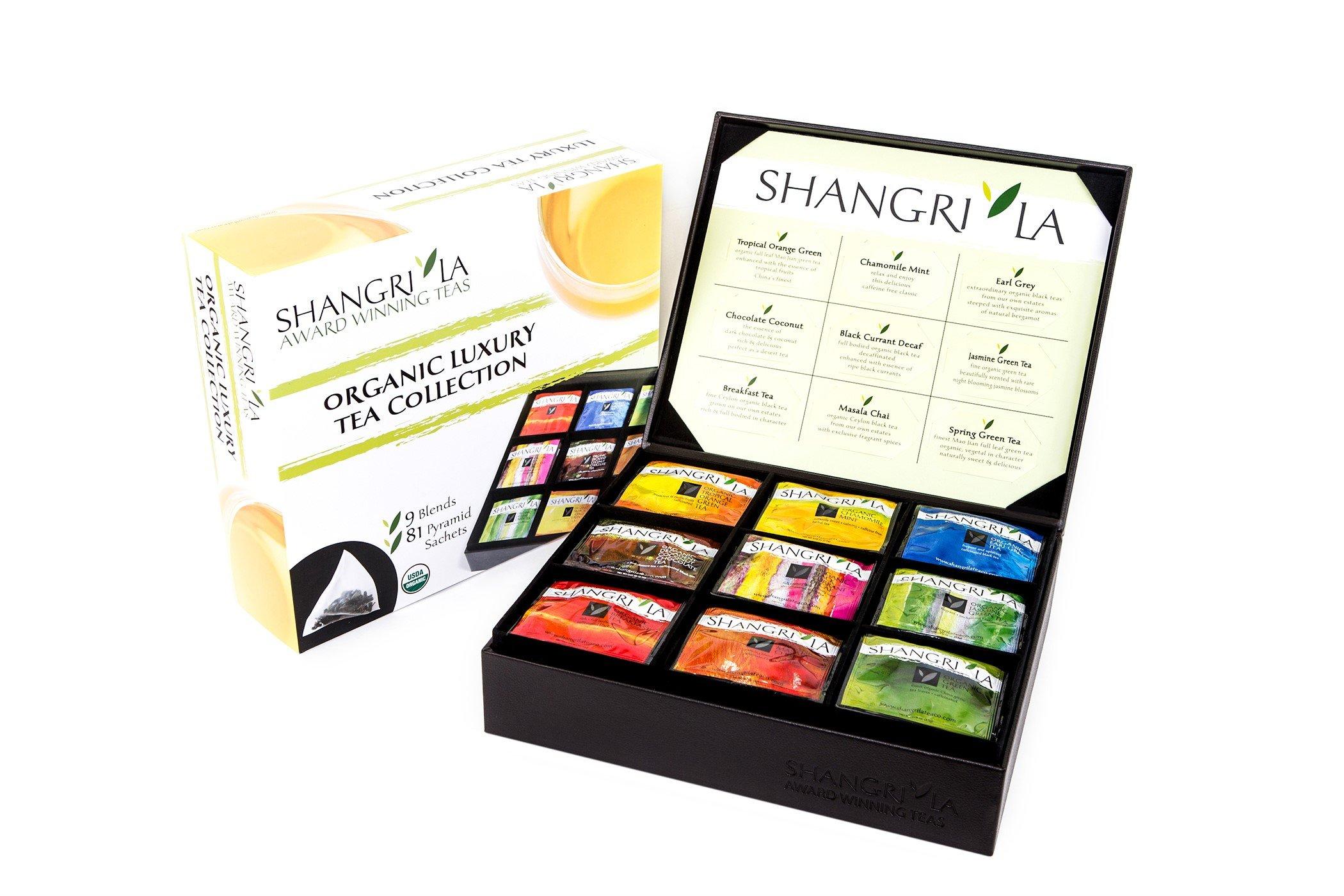 Shangri-La Tea Company Organic Luxury Silken Tea Sachet Collection, 81 Hot Tea Bags, 9 Different Flavors, Custom Gift Box
