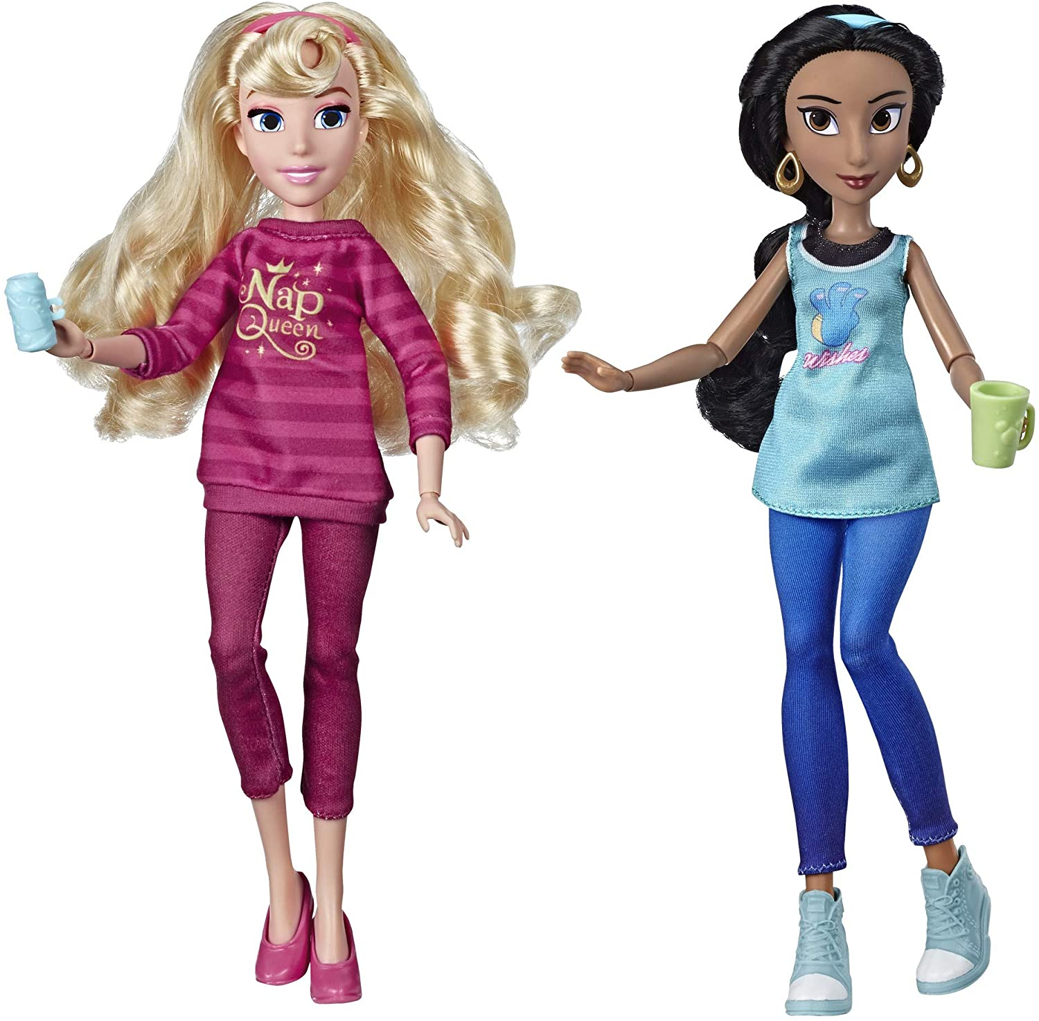 Amazon Com Disney Princess Ralph Breaks The Internet Movie Dolls Jasmine Aurora Dolls With Comfy Clothes Accessories Toys Games