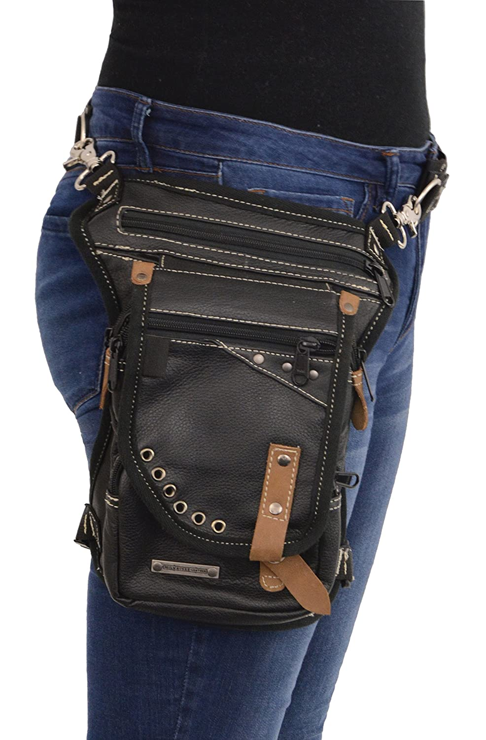 Milwaukee Leather MP8890 Black Carry Leather Thigh Bag with Waist Belt Shaf International Inc.