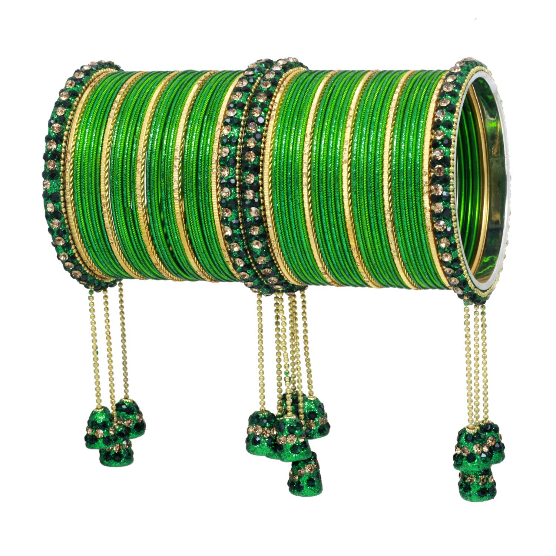 Ratna Indian Bollywood Bangles Women Wedding /& Party Wear Pakistani Matching Outfit Color Latken Dangle Drop Bridal Bangle Set Pair Jewelry