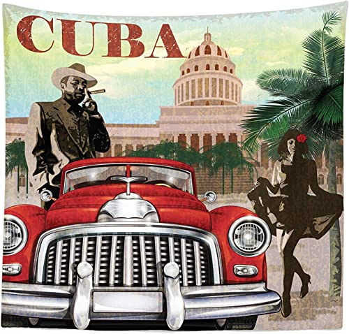 SODIKA Cuba Tapestry, Country Tourism Advertisement Theme Vintage Design Cigar Smoking Man and Dancing Girl, Fabric Wall Hanging Decor for Bedroom Living Room Dorm, 30 W X 45 L inches, Multicolor
