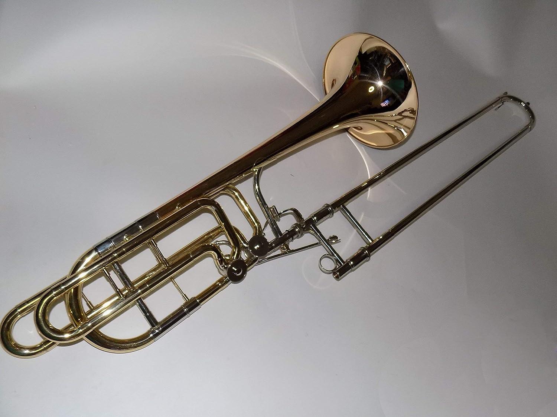 SUERTE 新しい 到着 Bb/F/Eb/D 低音 トロンボーン 真鍮 ボディ ゴールド ブラス ベル フォームボディ ケース付き 風 楽器 プロフェッショナル   B07M598159