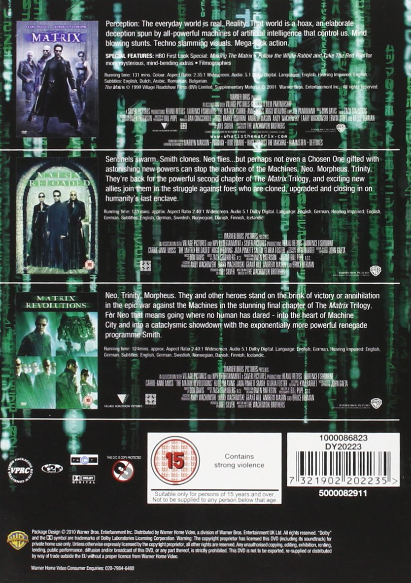 Complete Matrix Trilogy Dvd 1999 Jada Pinkett Neo Trinity My Amplifier Smith Laila Robins Keanu Reeves Carrie Anne Moss Laurence Fishburne Hugo Weaving
