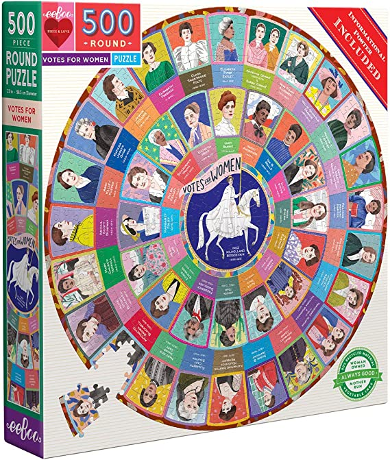 eeBoo's Piece and Love Votes for Women 500 Piece Round Circle Jigsaw Puzzle