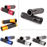 "Custom Motorcycle Al+Rubber Gel 7/8"" Handle Bar Grips for Bars End Sport Bike Street Bikes(Black)"