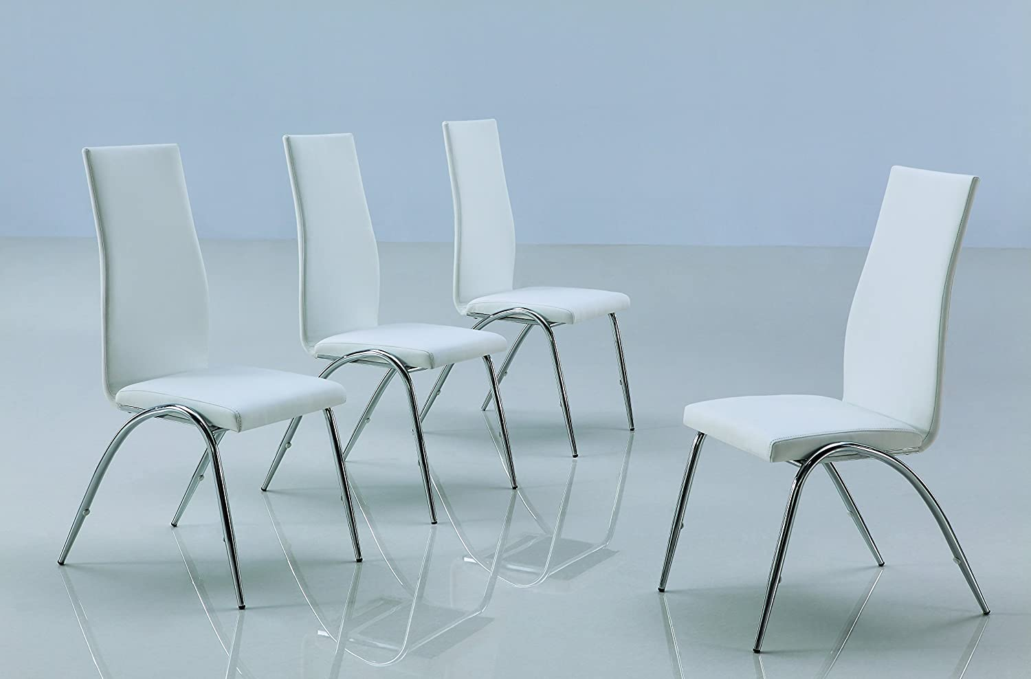 Modern Line Furniture F73Wx4 Contemporary Dining Chair for Restaurant/Bar/Nightclub/Hospitality Furniture, White (Pack of 4)