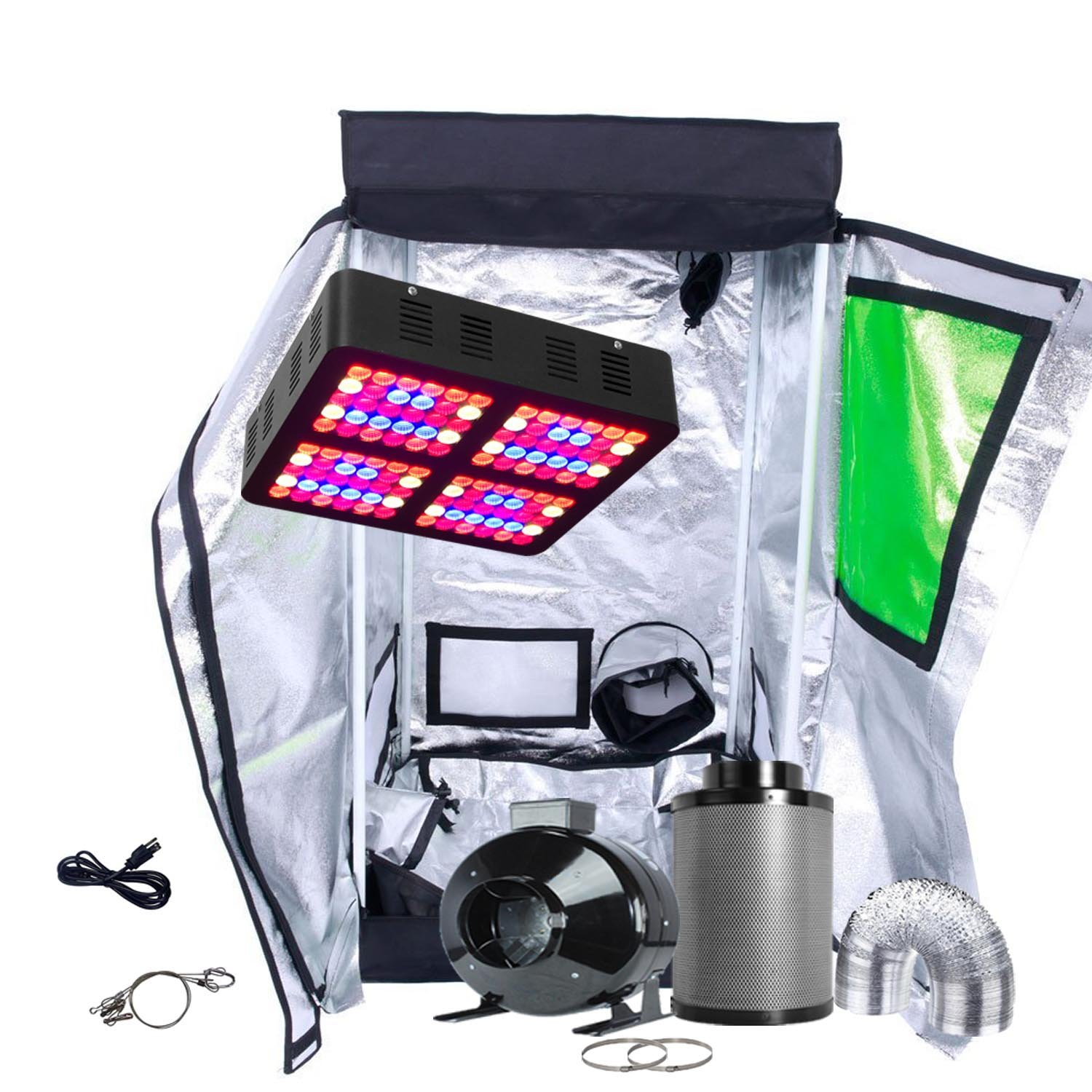 Oppolite LED Grow Tent Kit Complete Package LED 600W Grow Light Kit +4'' Fan Filter Ventilation Kit +24''X24''X48''T Grow Tent Setup Hydroponics Indoor Plants Growing System (LED600W+24''X24''X48''T-Door+4'')