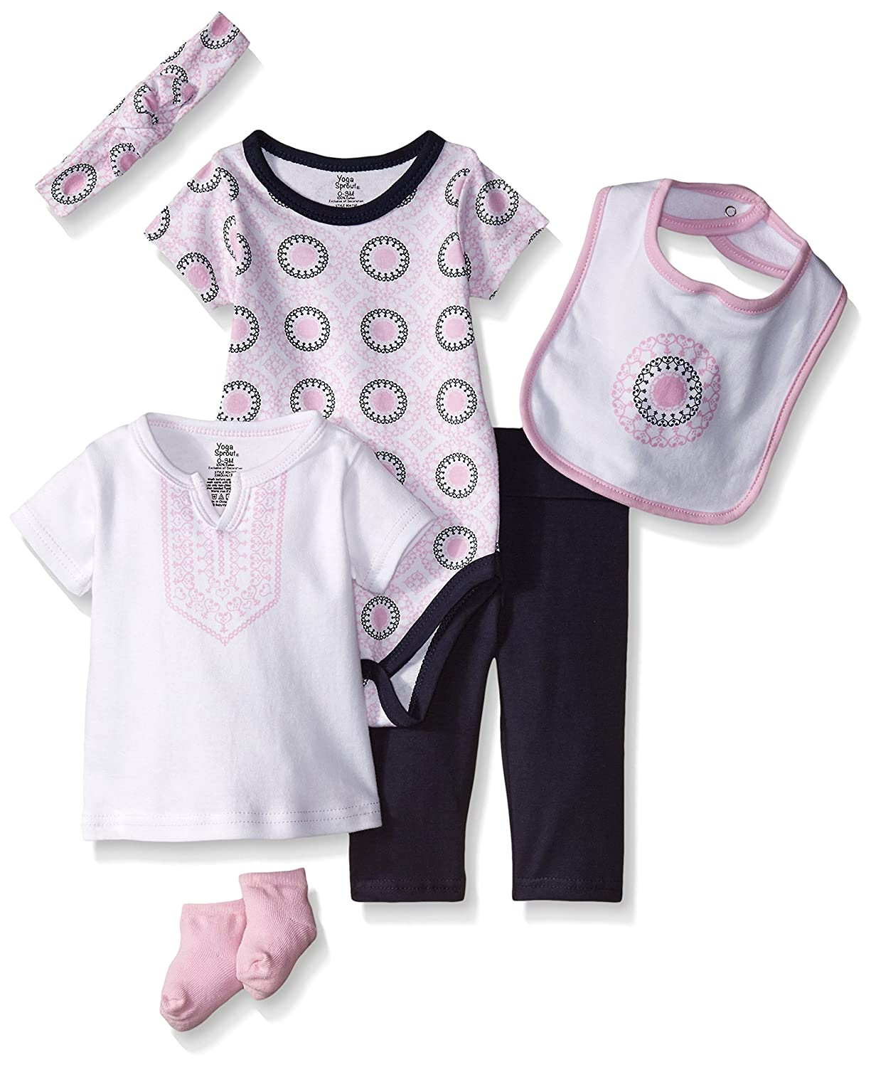 Yoga Sprout Baby Girls 6 Piece Layette Set