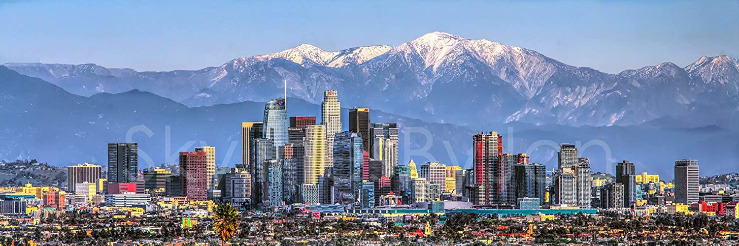 Los Angeles Skyline 2019 Photo Print Unframed Mountains View From West 11 75 Inches X 36 Inches Photographic Panorama Poster Picture Standard Size Posters Prints