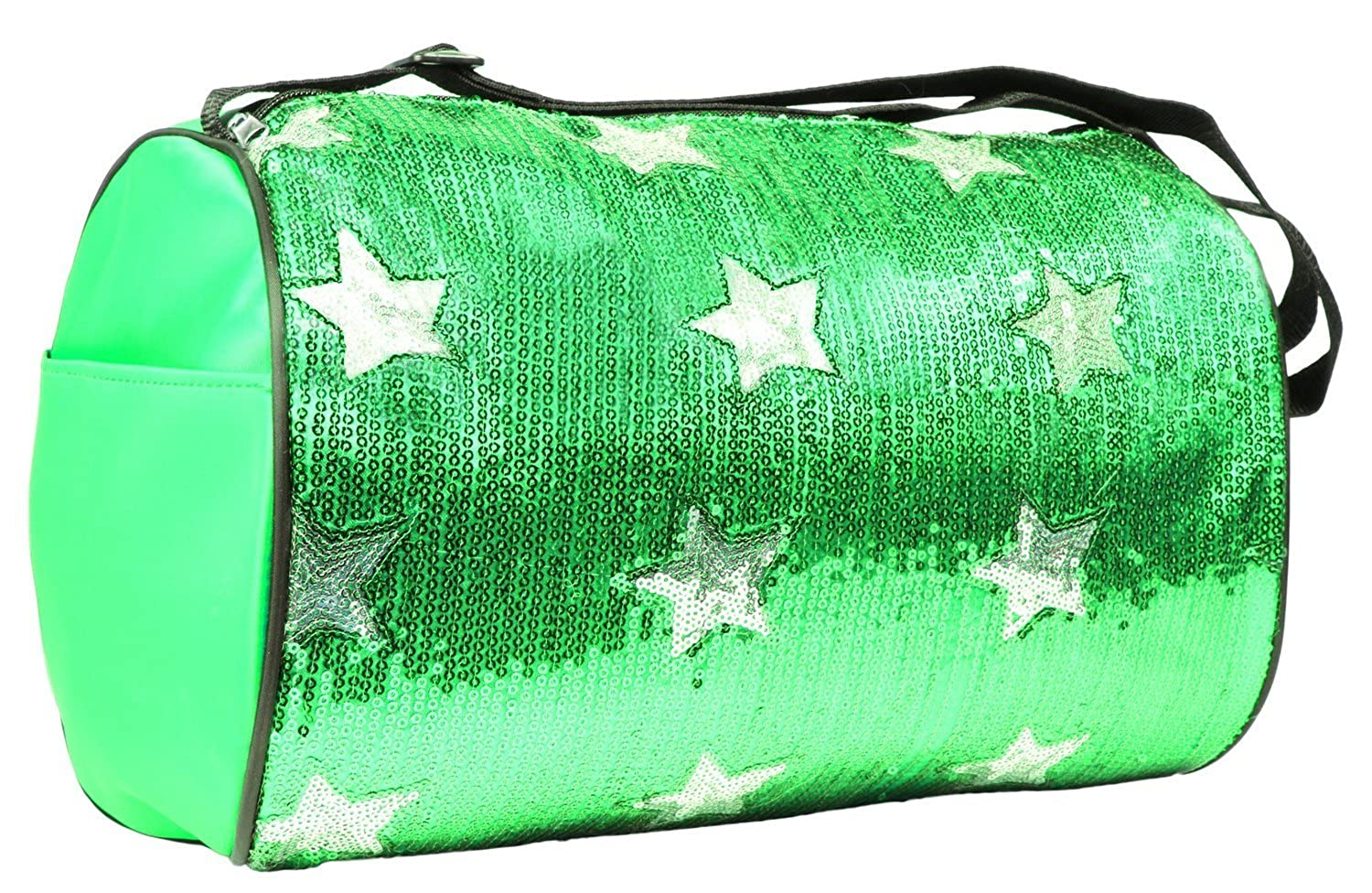 Private Label Girls Nylon Dance Duffle Bag with Sequin Stars, Lime Green