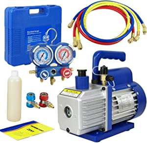 Smartxchoices 3.5 CFM Electric Single-Stage Rotary Vane Deep Vacuum Pump 1/4HP HVAC A/C Refrigeration Kit AC Manifold Gauge Bundle Kit R134a (3.5 CFM + Manifold Gauge)