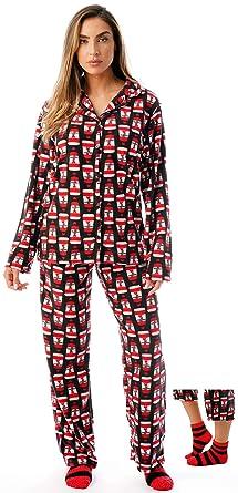 3596a4b192  followme Printed Microfleece Button Front PJ Pant Set with Socks  6370-10325-S