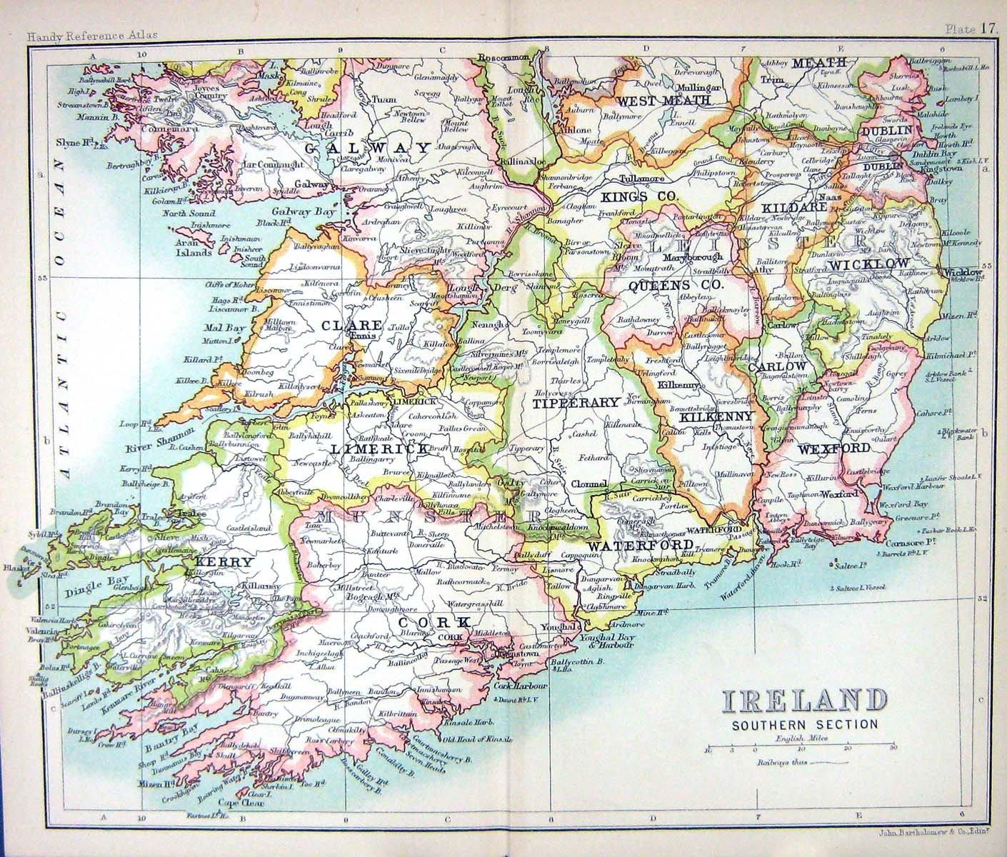 Antike Karte C1901 Sud Irland Kerry Waterford Wicklow Tipperary