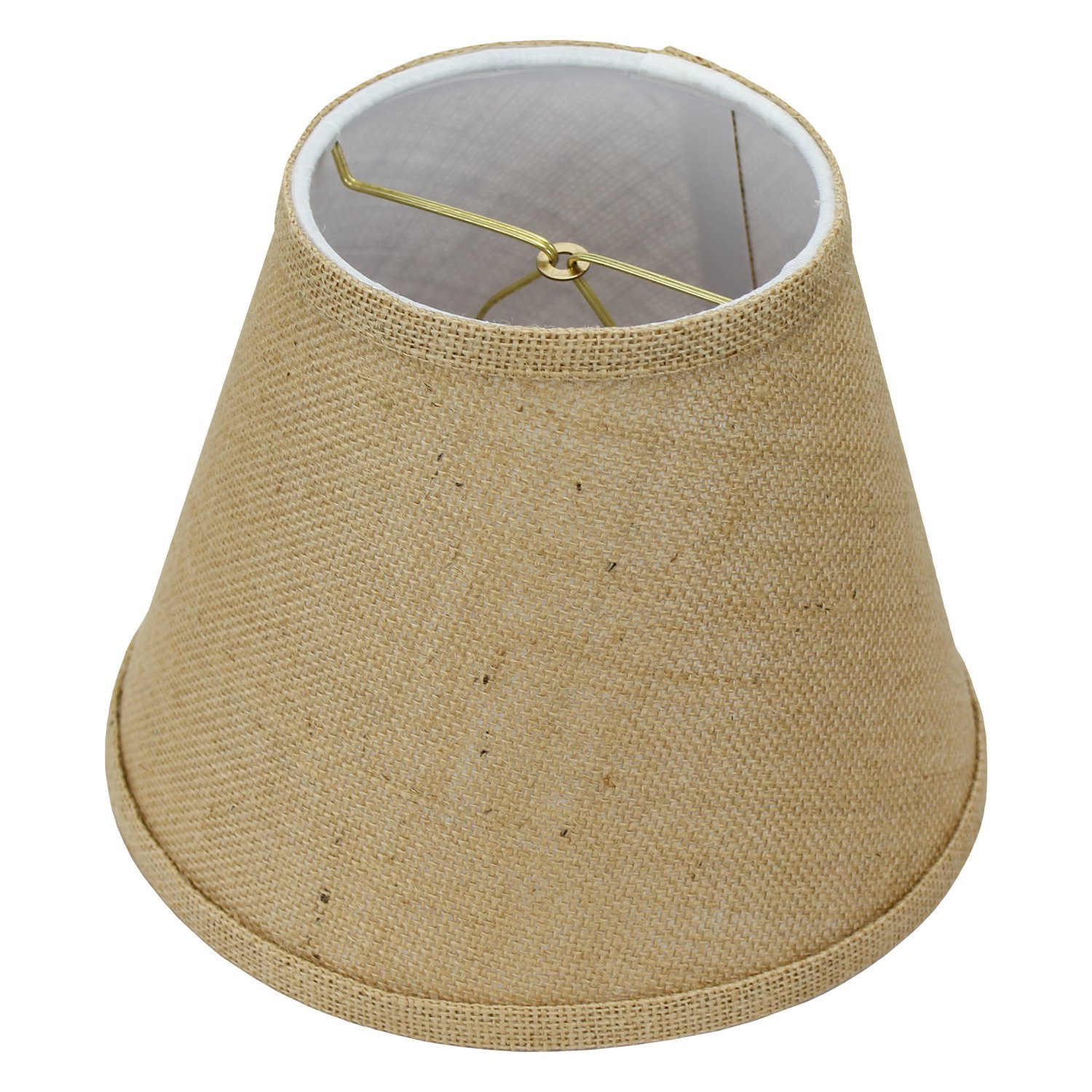 FenchelShades.com Lampshade 5'' Top Diameter x 9'' Bottom Diameter x 7'' Slant Height with Clip-On Attachment for Standard Edison-Style Lightbulb (Burlap Natural)