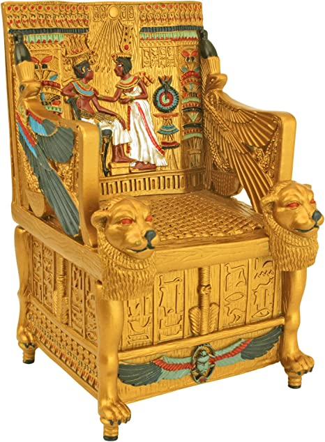 Egyptian Décor Trinket Box King Tut S Golden Throne Jewelry Box Egyptian Statues Amazon Ca Home Kitchen