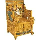 Egyptian Décor Trinket Box - King Tut's Golden Throne Jewelry Box - Egyptian Statues