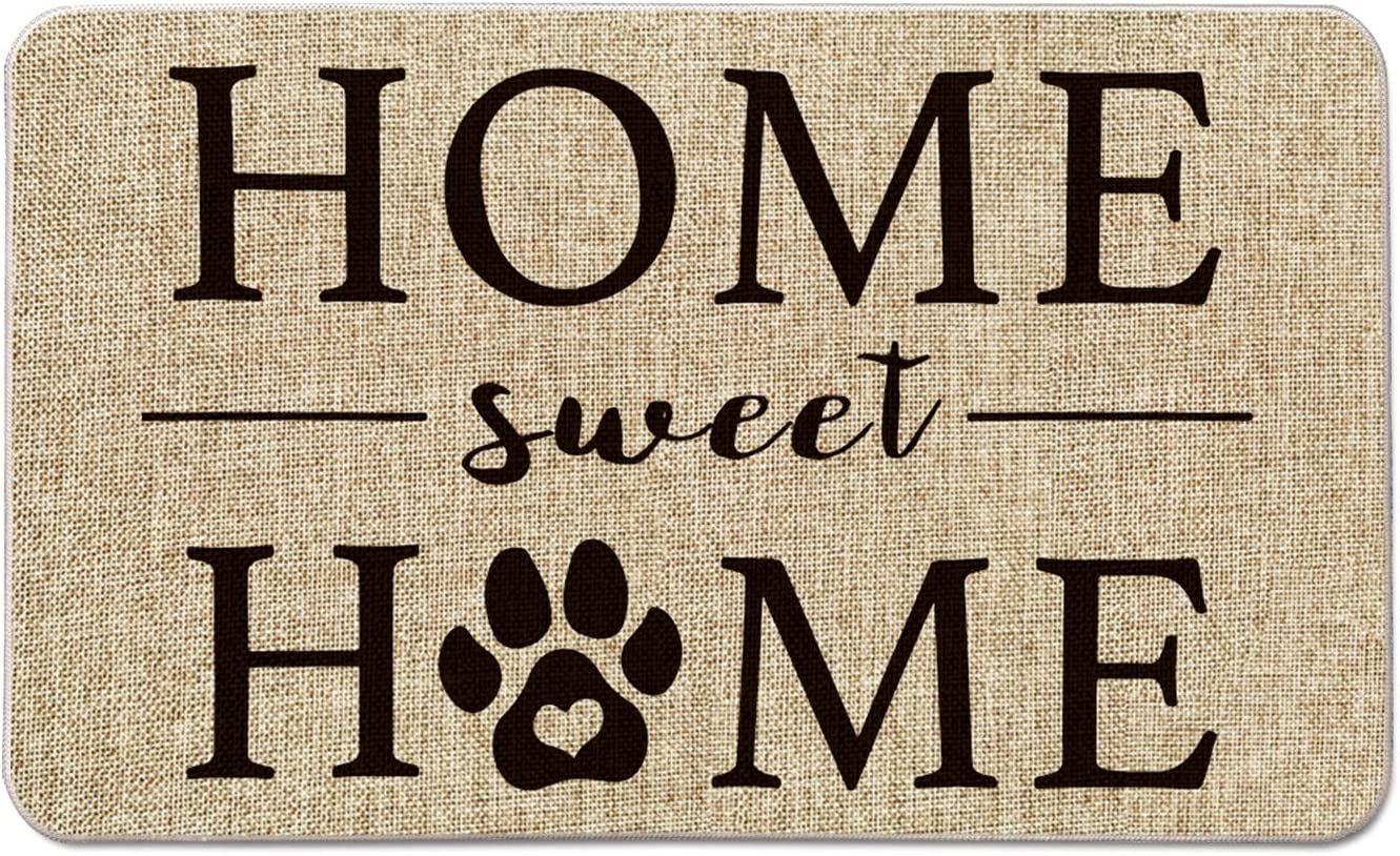 Artoid Mode Home Sweet Home Paw Decorative Doormat, Pet Dog Cat Low-Profile Floor Mat Switch Mat for Indoor Outdoor 17 x 29 Inch