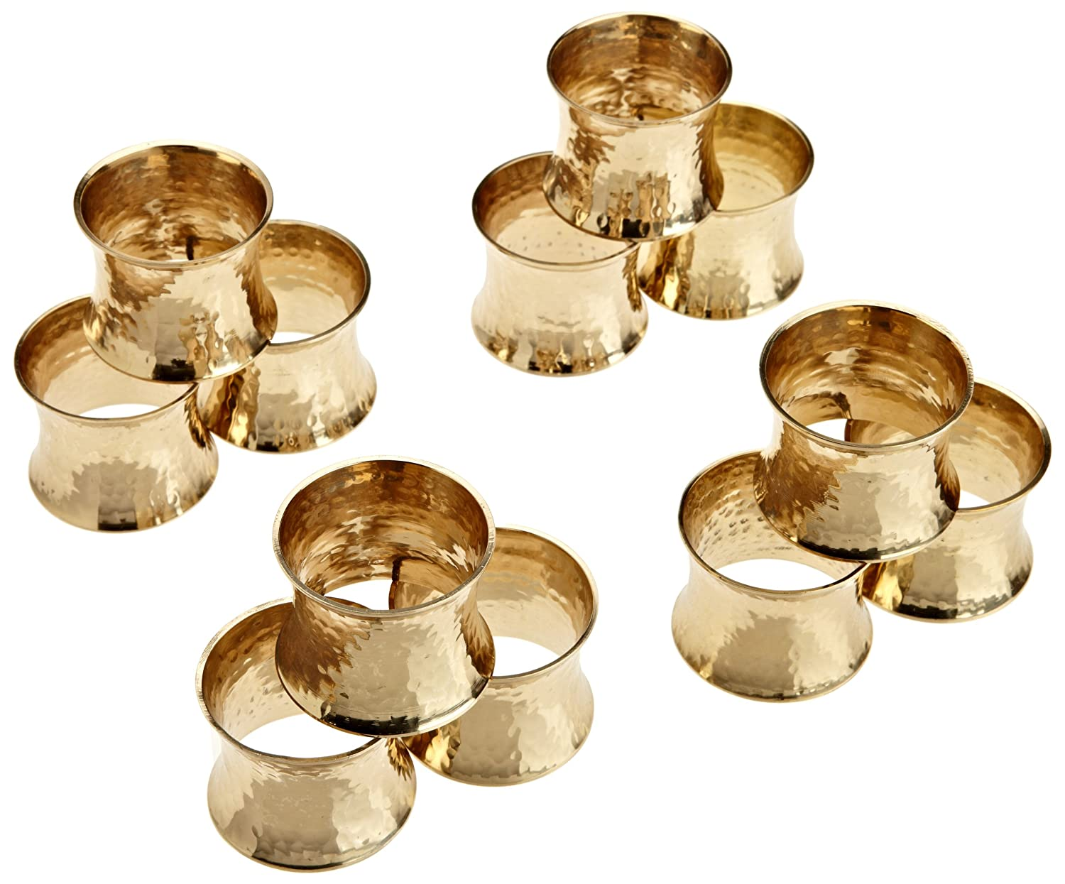 DII Napkin Rings for Weddings, Dinners, Parties, or Everyday Use, Set of  12, Hammered Gold