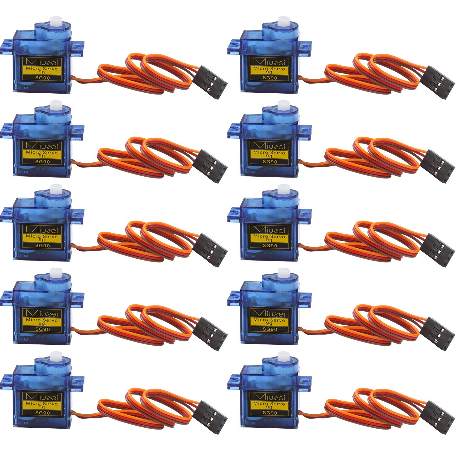 10 pcs SG90 9G Micro Servo Motor Kit for RC Robot Arm Helicopter Airplane Remote Control by Miuzei (Image #7)