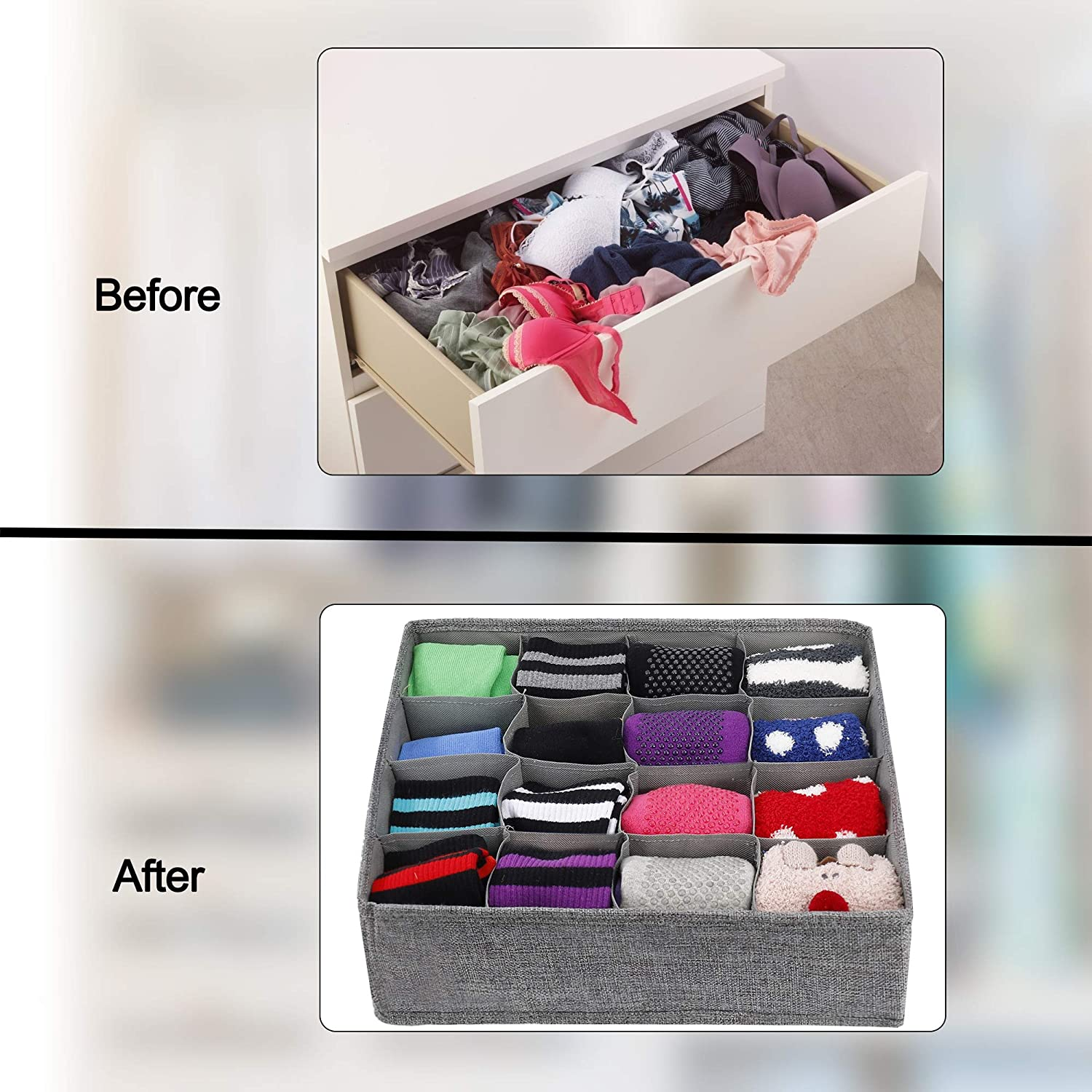 Ties Collapsible Fabric Cabinet Closet Wardrobe Organization Storage Boxes for Clothes MaoXinTek Drawer Organizer Divider for Socks Underwear Baby Nursery Pants 32 Cells// 2 Pack, Gray Lingerie