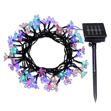 1 outdoor solar string lights e trends flower 50 led 23ft multi - Solar Powered Christmas Wreath