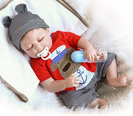 Npkdolls Reborn Baby Doll Realistic Baby Dolls Vinyl Silicone Babies 22inch 55cm Doll Newborn Real Baby Doll Free Pacifier Lovely Lifelike Cute Baby Red Cute Sleeping Doll Toys Games