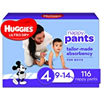 Huggies Ultra Dry Nappy Pants, Boy, Size 4 (9-14kg), 116 Count, Packaging May Vary, Pack of 2
