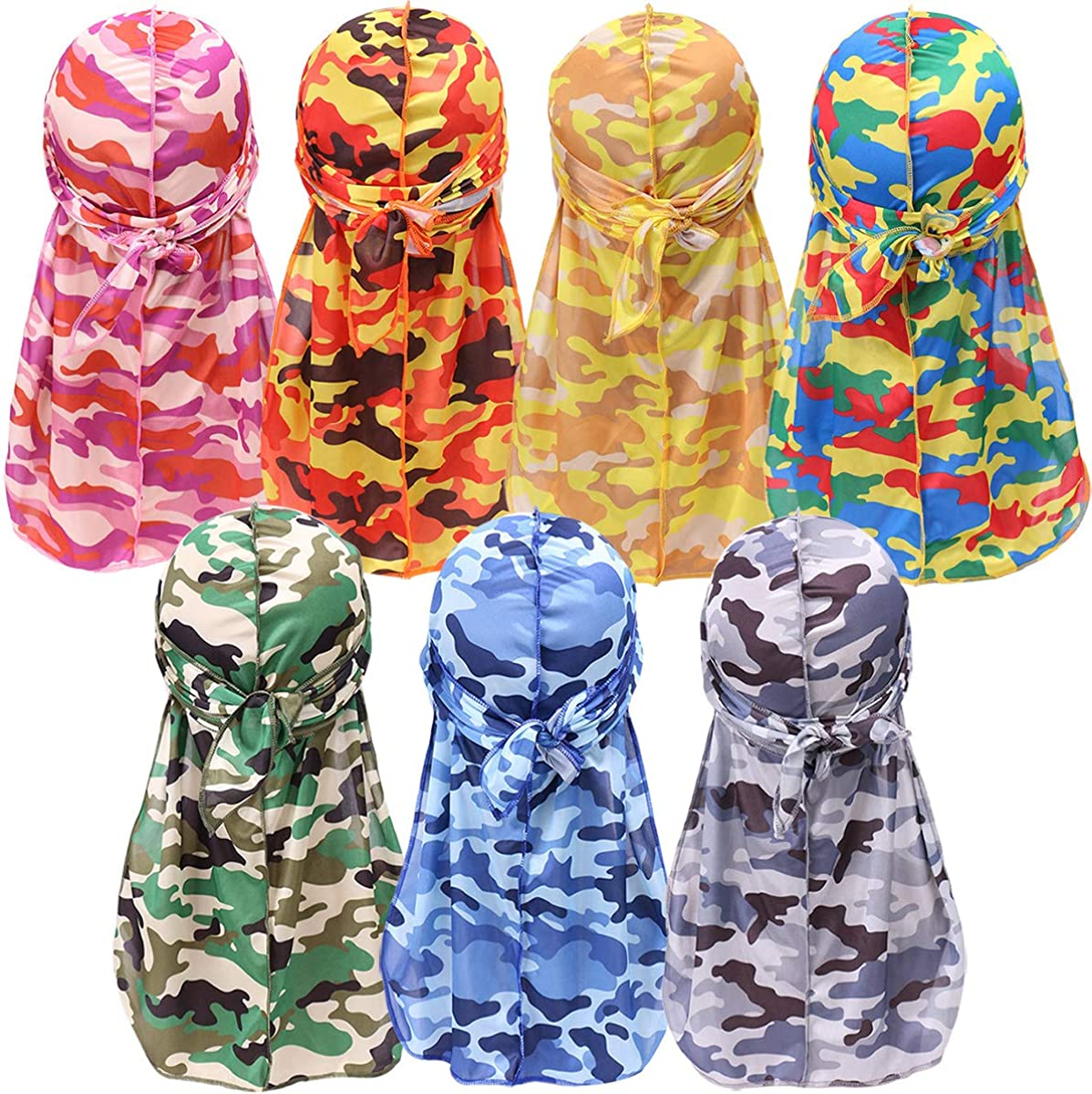 YI HENG MEI Two-Colors Block Silky Durag,2PCS//3PCS Bandana Camo Durag for 360,540,720 Waves