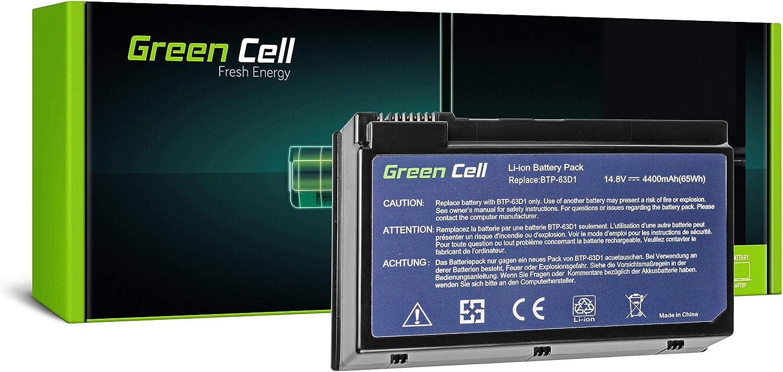Green Cell® Standard Serie BTP-63D1 BTP-96H1 BTP-98H1 BTP-AHD1 Batería para Acer TravelMate 2410 2412 4400 C300 C310 | Acer Aspire 3020 3610 5020 Ordenador (8 Celdas 4400mAh 14.8V Negro)