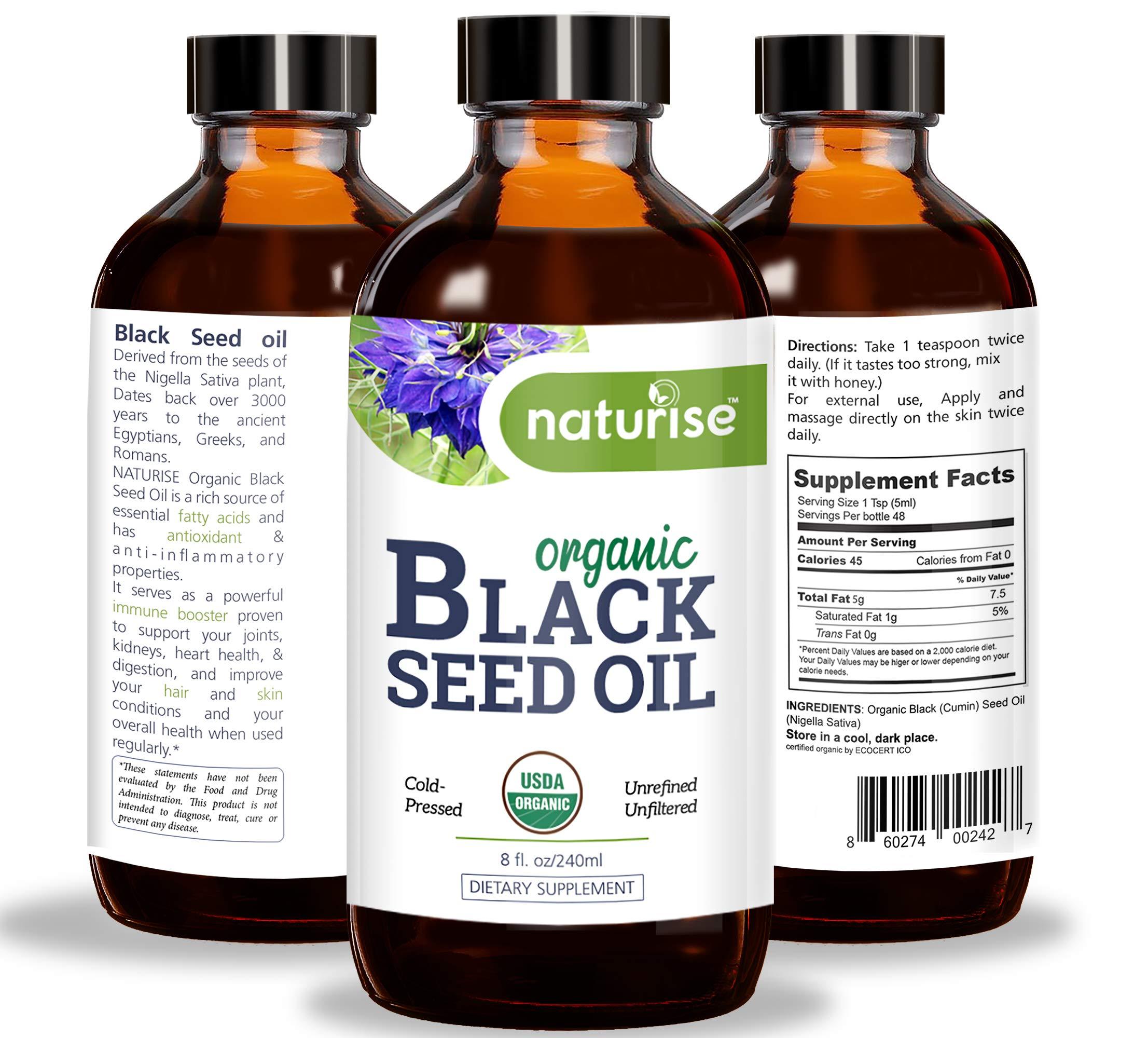 Naturise Black Seed Oil Organic Cold Pressed, Black Cumin Seed Oil Nigella Sativa GLASS BOTTLE (8 oz) Source of Essential Fatty Acids, Omega 3 6 9, Antioxidant for Immune Boost, Joints, Skin, & Hair