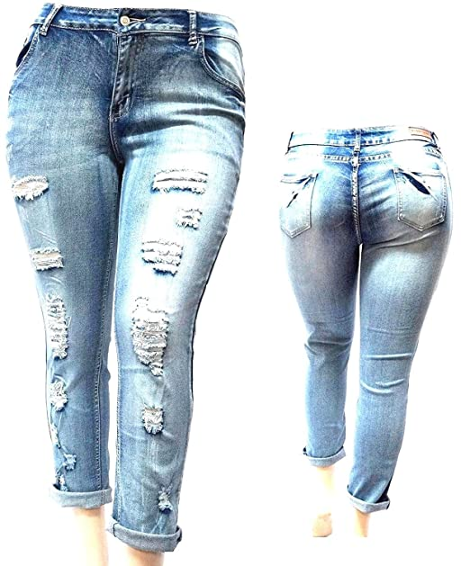 72d7ae15e21f4c Jack David Womens Plus Size Ripped Destroy Blue Denim Roll up Distressed  Jeans Pants at Amazon Women's Jeans store