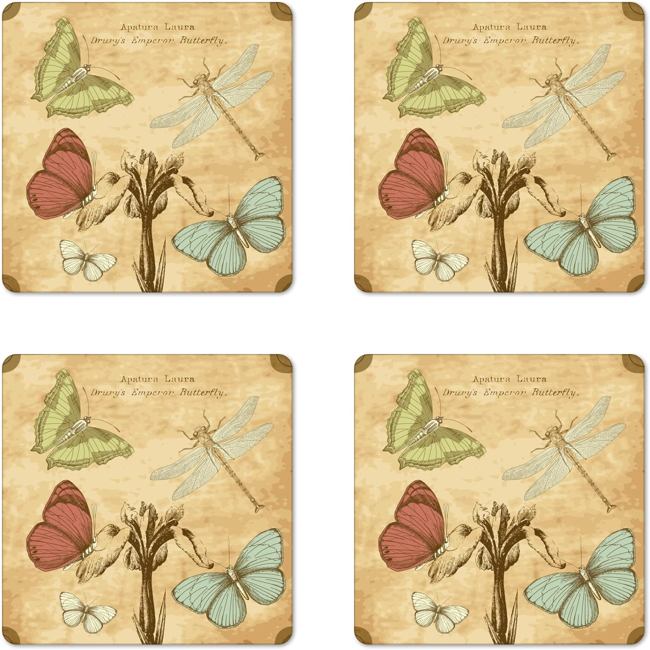 Amazon Com Ambesonne Dragonfly Coaster Set Of 4 Retro Style Butterflies With Flower Petals And Grunge Effects Artwork Square Hardboard Gloss Coasters For Drinks Sand Brown Caramel Coasters
