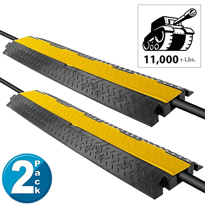 Pyle Ramp-1 Channel Rubber Floor Cord Concealer-Heavy Duty Cable Protector Wire/Hose/Pipe Hider Driveway Protective Covering Armor PCBLCO102X2 (Pair), Black and Yellow