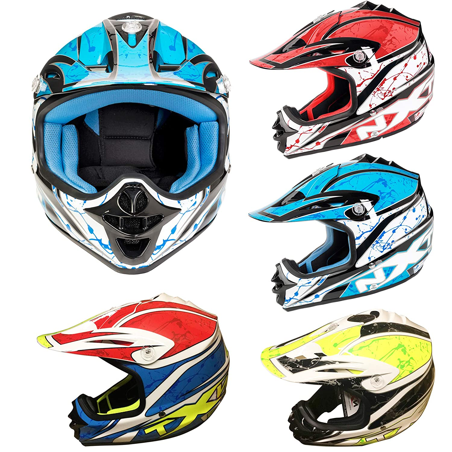 Kids Motorbike Helmets Motorcycle Scooter MX Helmet Off Road Racing Junior Childern Full Face Protection Blue XXXS 4 Different Color 49-50 cm