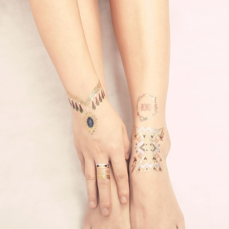 COKOHAPPY Metálico Temporales Tatuaje hamsa Ojo: Amazon.es: Belleza