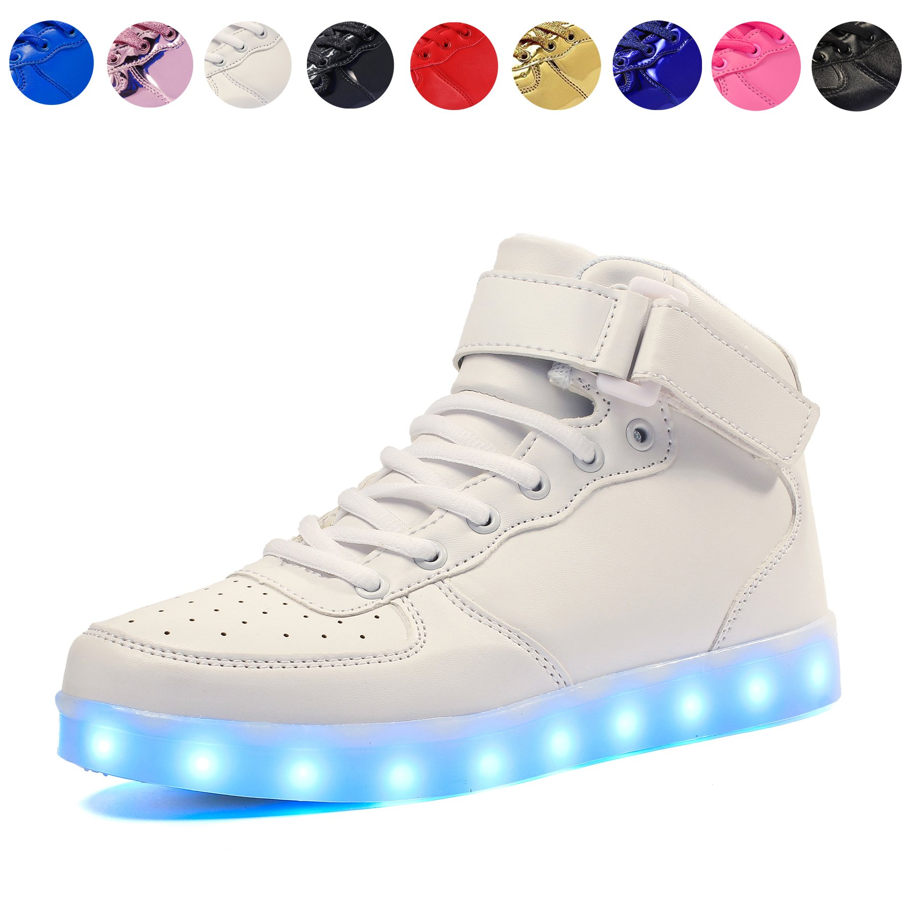 Voovix Kids LED Light up Shoes USB Charging Flashing High-top Sneakers for Boys and Girls Child Unisex(White,US13/CN32)