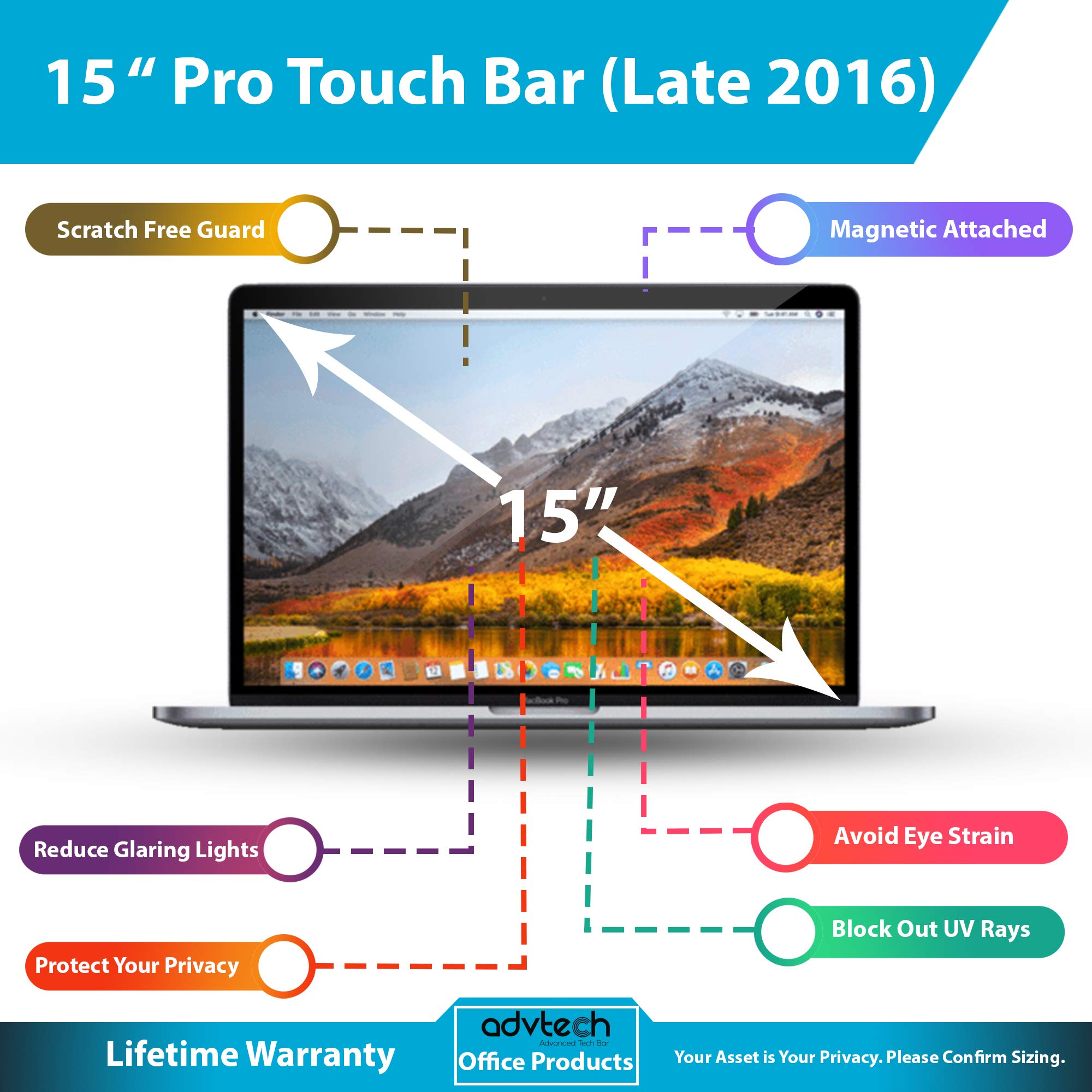 ADVTECH 2nd Gen Magnetic Privacy Screen Filter Compatible for Latest MacBook Pro 15'' Touch Bar (Late 2016) No Stickers Required [Anti-UV Rays] Anti-Glare [Screen Protection] Stop Data Leaks by ADVTECH (Image #2)