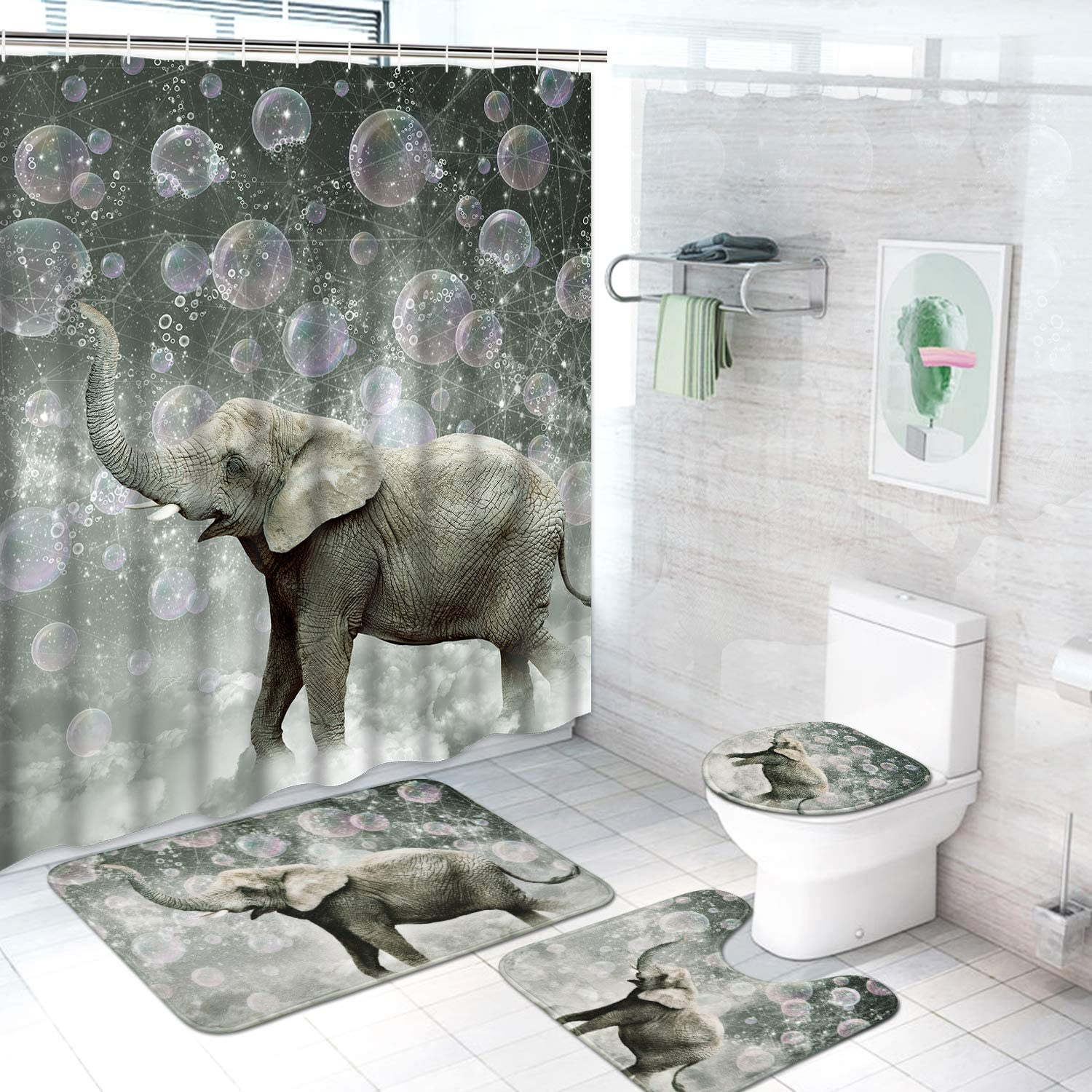 4 Pcs Cute Elephant Shower Curtain Set with Non-Slip Rug, Toilet Lid Cover and Bath Mat, Funny Animal Bathroom Shower Curtains with 12 Hooks, Grey Fabric Shower Curtains for Bathroom