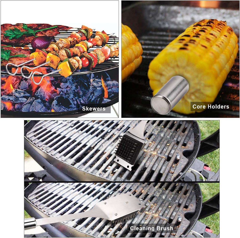 PHILORN Grillbesteck Set Zange Grill Werkzeugset mit Spatel 20 St/ück Spie/ßen Lebensmittelqualit/ät 420 Edelstahl Grillzubeh/ör Grillset B/ürsten Maishaltern und Leicht zu Tragender Tasche Gabeln