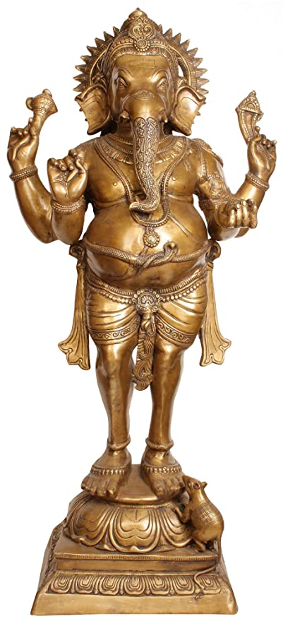 CraftVatika 51 Inches Large Brass Standing Hindu Religious