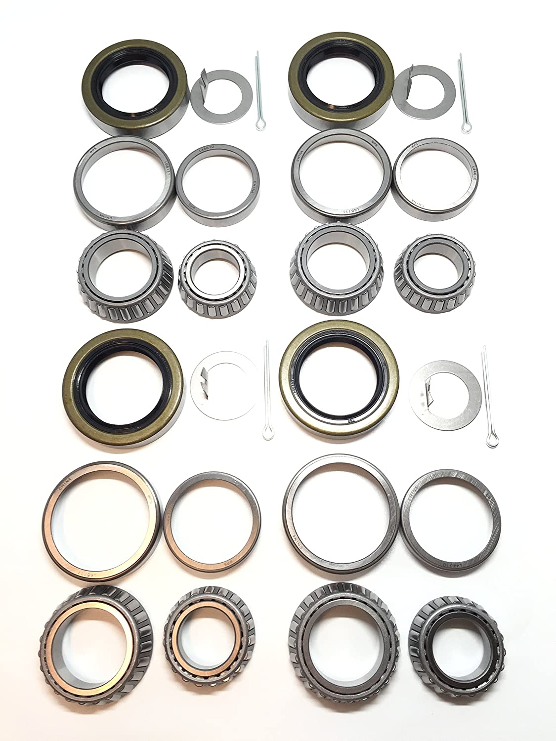 (Set of 4) WPS 3500# Trailer Tandem Axle Bearing Kits L68149 L44649 Grease Seal 10-19 I.D. 1.719'' for #84 Spindle 81ABHwfDBHL