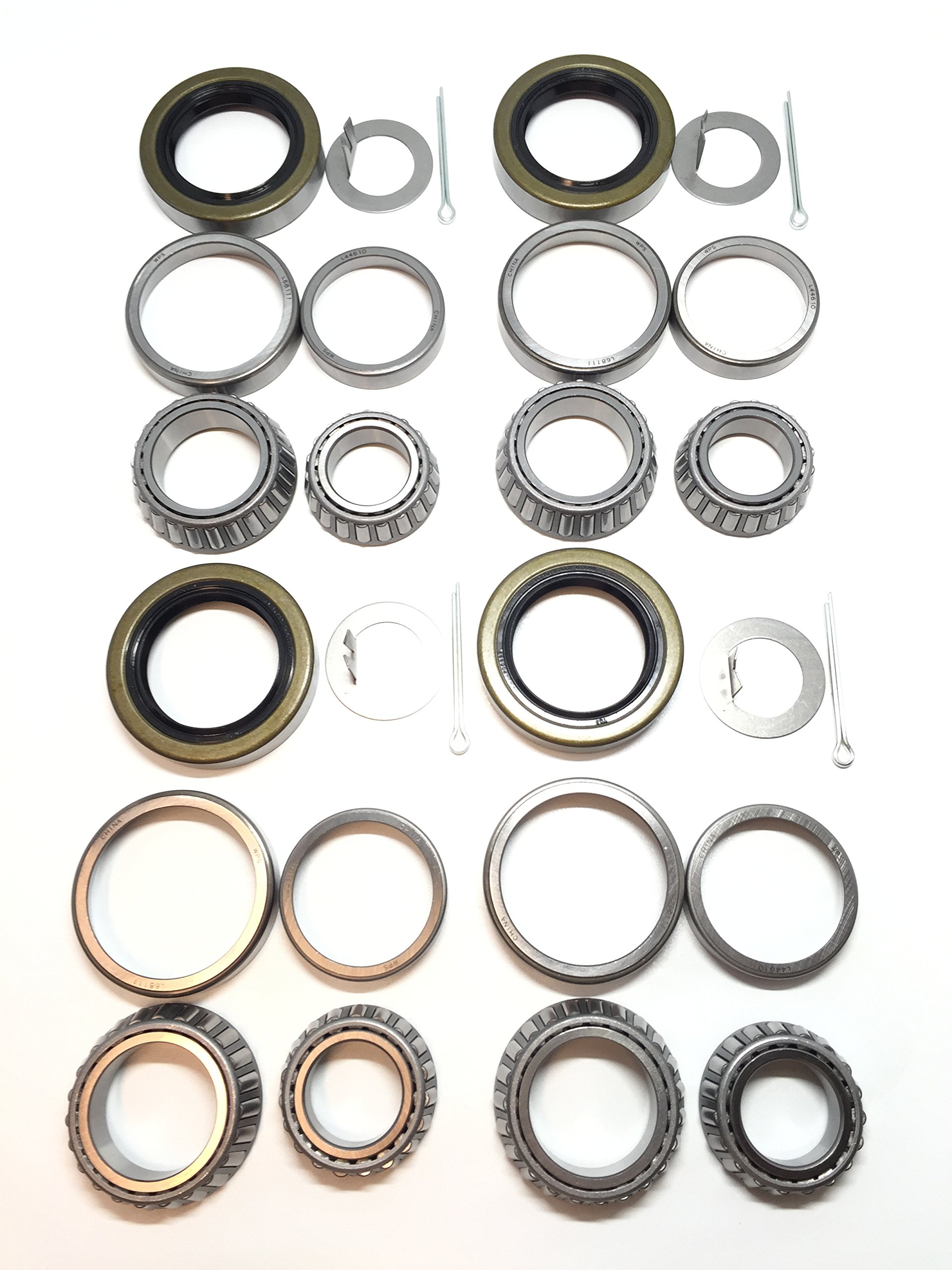 (Set of 4) WPS 3500# Trailer Tandem Axle Bearing Kits L68149 L44649 Grease Seal 10-19 I.D. 1.719'' for #84 Spindle by WPS Western Power Sports